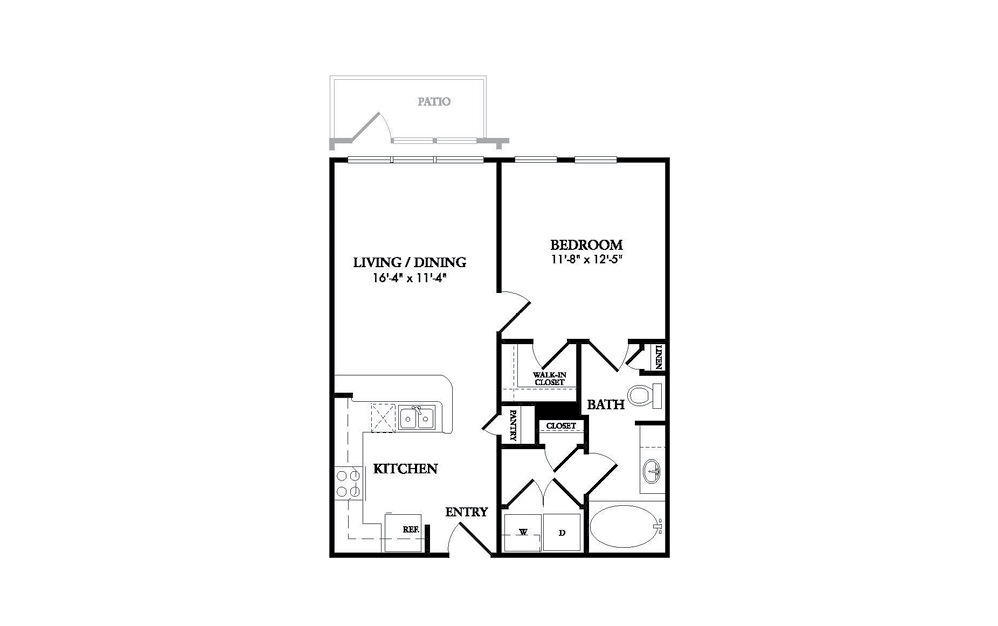 The Adler - 1 bedroom floorplan layout with 1 bath and 621 square feet.