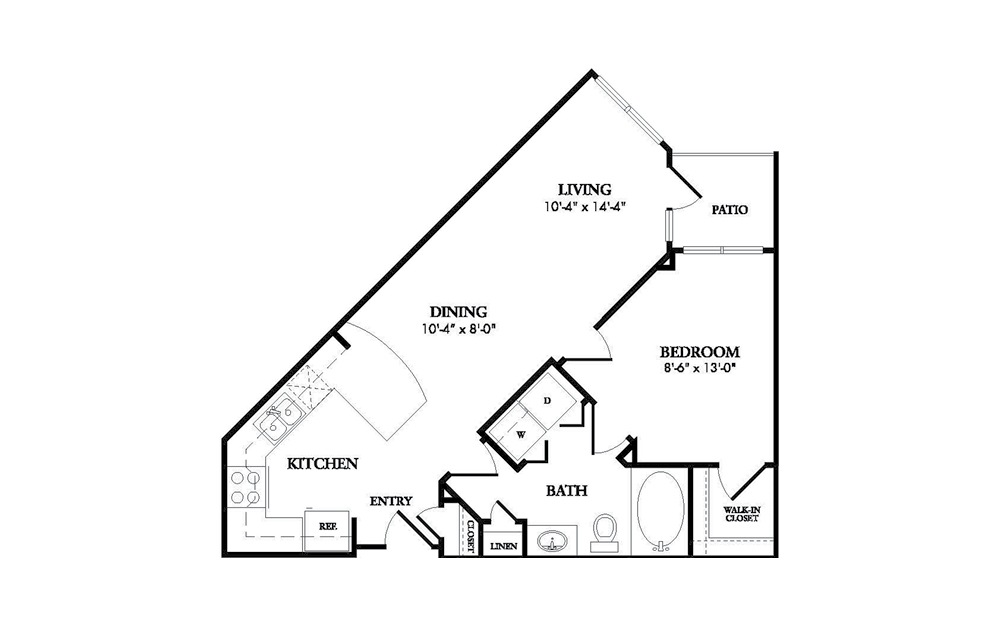 The Crescent - 1-bedroom floorplan layout with 1 bath and 679 square feet