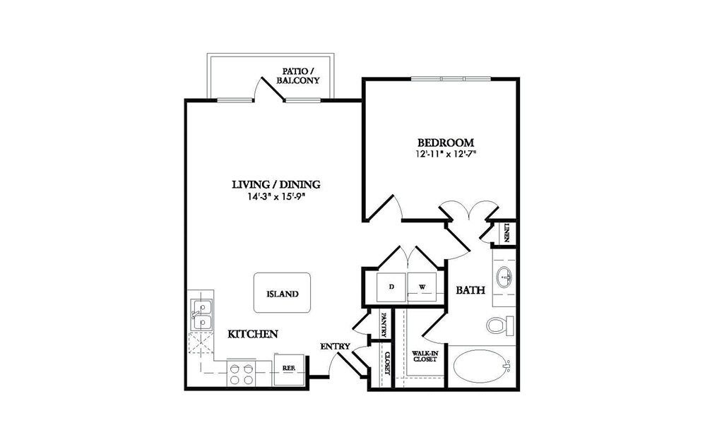 The Delano - 1 bedroom floorplan layout with 1 bath and 757 square feet.