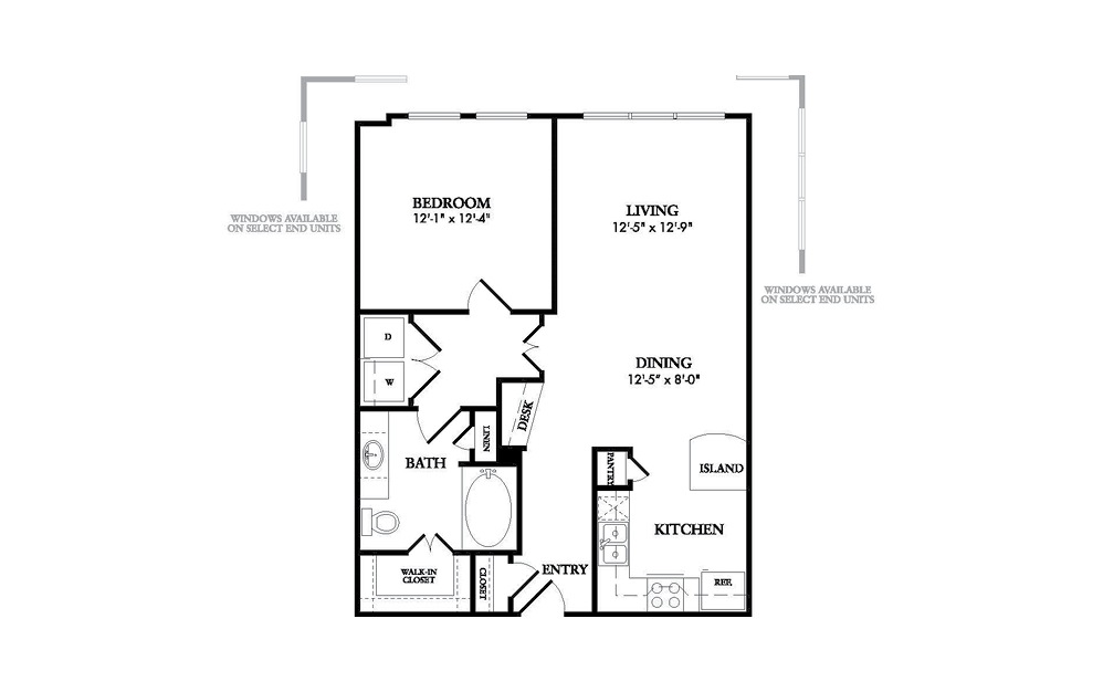 The Drake - 1-bedroom floorplan layout with 1 bath and 788 square feet.