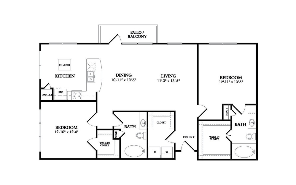 The Monaco - 2 bedroom floorplan layout with 2 baths and 1239 square feet.