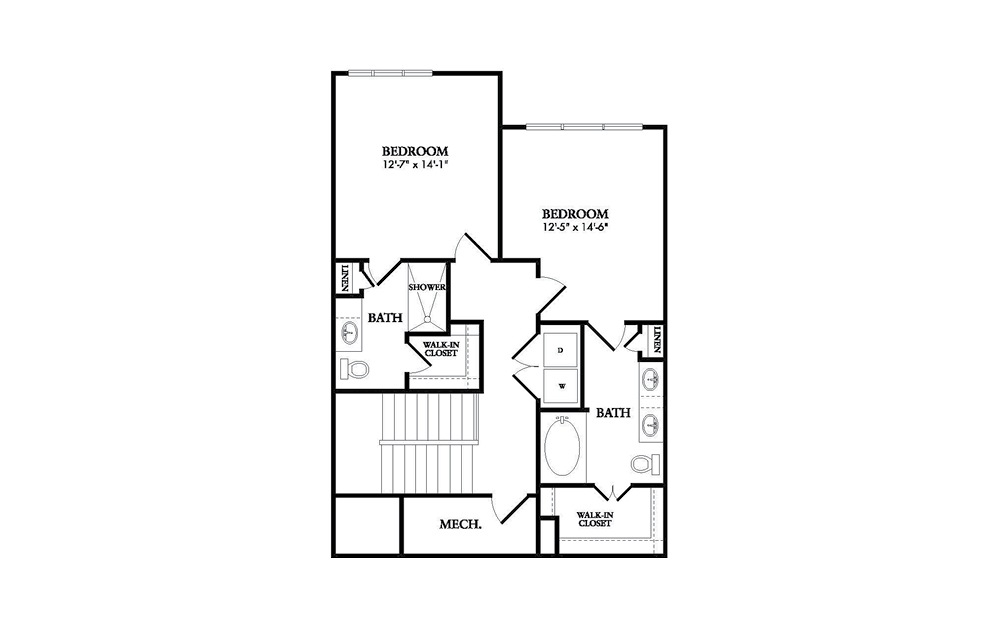 The Royalton - 2 bedroom floorplan layout with 2.5 baths and 1635 square feet. (Floor 2)