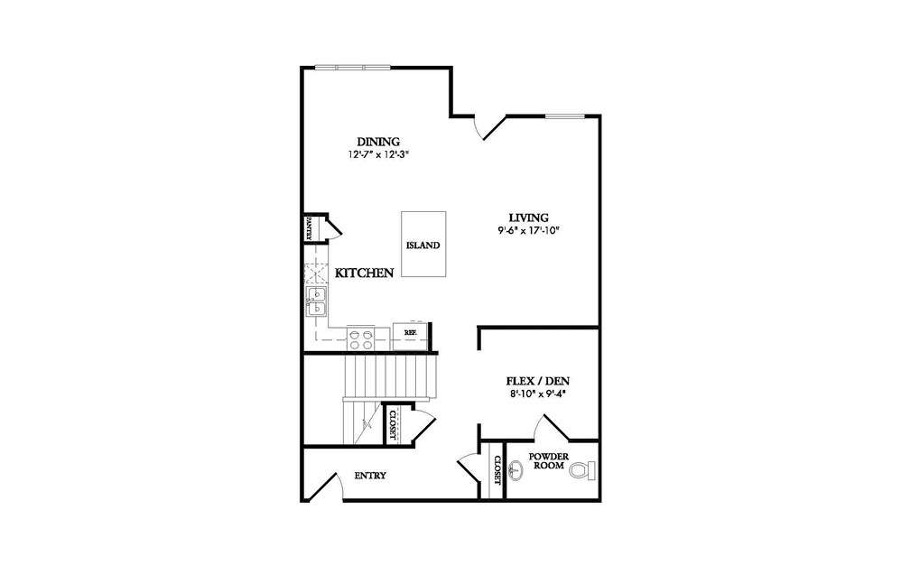 The Royalton first floor - dining, kitchen, and living room spaces with a half bath